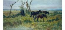 Giovanni Fattori, Cavalli in pastura, dipinto, Collezione Ojetti