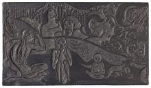 Paul Gauguin, Soyez amoureuses, vous serez heureuses | Amate, sarete felici | Love, And You Will Be Happy, 1898, Blocco di legno inciso, cm. 15,9 x 27,8 x 2,1,  Praha, Národní Galerie, inv. n. R 144606