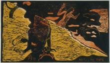 Paul Gauguin, Auti te pape | L'acqua fresca scorre | Fresh water is flowing, 1893-94, Xilografia stampata con inchiostro nero su stampino stampato con  inchiostro giallo e arancione, cm. 20,3 x 35,4 (foglio), Philadelphia Museum of Art, acquisto, 1941, inv. n. 1941-8-64