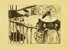 Paul Gauguin, Donne bretoni presso uno steccato | Bretonnes à la barrière | Breton women beside a fence, 1889, Litografia su carta, cm. 48,3 x 63,2 (foglio), cm. 16 x 21,5 (immagine), firma in basso a sinistra: P Gauguin, Art Gallery of New South Wales, Sidney, Acquisto 1976, inv. n. 298.1976