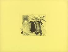 Paul Gauguin, Gioie di Bretagna | Joies de Bretagne | De vreugden van Bretagne, Zincografia stampata in nero su carta pergamena gialla, cm. 49,8 x 64,8 (foglio), cm. 20,1 x 24,1 (lastra), Van Gogh Museum, Amsterdam, inv. n. p2437gV2004