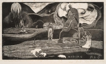 Paul Gauguin, Maruru, 1894-1895, Xilografia stampata su carta, cm. 20,3 x 35,6