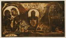 Paul Gauguin, Te Atua | Gli dei | Les Diex | Die Götter | The Gods, 1893-1894, Xilografia a colori su carta, stato 2/2, cm. 20,4 x 35,8, Kunstmuseum Basel, Kupferstichkabinett, Acquisto 1949, inv. n. 1949.108, Sulla lastra: te Alua [sic] / PGO