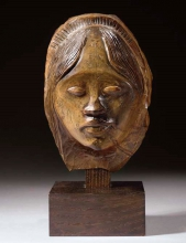 Paul Gauguin, Testa di donna tahitiana | Tête de femme tahitienne | Head of Tahitian woman, 1892 circa, scultura in legno, 19 cm. di altezza, firmata (due volte) PGO, collezione privata, venduta da Christie's, New York, il 9 maggio 2007 per $1,384,000