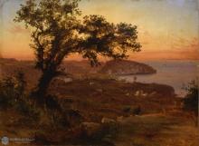 Giacinto Gigante (Napoli 1806 - Napoli 1876): Penisola sorrentina al tramonto, 1850 circa, Olio su tela, cm. 46 x 62, Collezione d'arte della Banca d'Italia