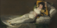 Francisco de Goya y Lucientes (Fuendetodos, Zaragoza 1746 - Burdeos, Francia 1828): La maja vestida, 1800-1808, Olio su tela, cm. 95 x 190, Madrid. Museo del Prado