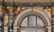 Gustav Klimt, Cinquecento e Quattrocento fiorentini | Florentinisches Cinquecento und Quattrocento, 1891, pittura murale incastonata sopra l'atrio nell'architettura a colonne e portici della scala del Kunsthistorisches Museum, Wien, inv. nr. Gemäldegalerie, AU A