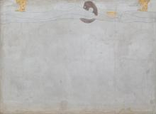 "Gustav Klimt, Beethovenfries: ""Die Sehnsucht nach Glück"" (Tafel 1, linke Langwand) | ""L'anelito della felicità"" (pannello 1, lungo la parete di sinistra), cm. 215 x 300, Inv. n. 5987/1"