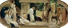 Gustav Klimt, Il carro di Tespi | Der Thesiskarren, 1886, Olio su base di stucco, cm. 280 x 400, Burgtheater, Wien, Österreich
