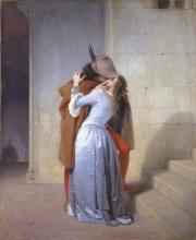 Francesco Hayez (Venezia 1791 - Milano 1882): Il bacio, 1859, Olio su tela, cm. 110 x 88. Milano, Pinacoteca di Brera