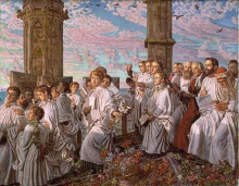 William Holman Hunt (Londra 1827 - Londra 1910): May morgen on Magdalen Tower (Giornata di maggio sulla Magdalen Tower, 1888-91, Olio su tela, 38,8x 48,9, Birmingham Museums and Art Gallery