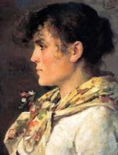 Silvestro Lega, Busto femminile di profilo, seconda metà del XIX secolo, Dipinto