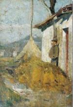 Silvestro Lega, Casa colonica e contadino, 1864, Dipinto