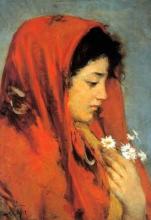 Silvestro Lega, Gabbrigiana con fazzoletto rosso, seconda metà del XIX secolo