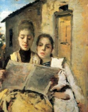 Silvestro Lega, La lettura, 1888, Dipinto