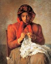Silvestro Lega, Lavoro all'uncinetto, 1892-1893, Dipinto