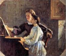 Silvestro Lega, Lezione al pianoforte, seconda metà del XIX secolo, Dipinto