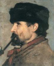 Silvestro Lega, Profilo di uomo con pipa, seconda metà del XIX secolo, Collezione eredi Montepagani