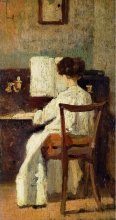Silvestro Lega, Signora al pianoforte, seconda metà del XIX secolo, Dipinto
