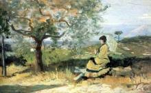 Silvestro Lega, Signora in campagna con ombrellino, seconda metà del XIX secolo, Dipinto