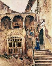 Antonio Mancini, Cortile, Museo Nazionale di Capodimonte, Napoli, Italia