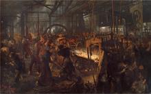 Adolf von Menzel (Breslau 1815 – Berlin 1905): Eisenwalzwerk (Laminatoio di ferro), 1872-1875, Olio su tela, cm. 254 x 158, Berlino, Nationalgalerie, Staatliche Museen zu Berlin