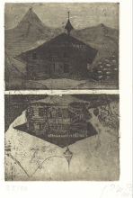 Paula Modersohn-Becker, Chalet, 1899, Acquaforte e acquatinta stampata in verde-nero su carta velina, cm. 14,3 x 11,2 (lastra), cm. 35 x 26,2 (foglio)