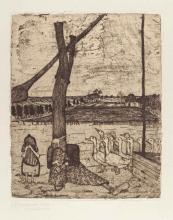 Paula Modersohn-Becker, Die Gänsemagd (La ragazza delle oche), Acquaforte con acquatinta stampata in marrone, 1900-1902 circa,  su carta velina, stato secondo e finale, 25,9 x 21 (lastra), 37,2 x 31 (foglio)
