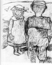 Paula Modersohn-Becker, Zwei Kinder (Due bambini), 1904 circa, Disegno