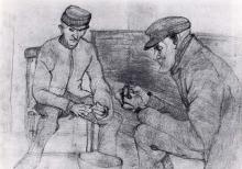 Paula Modersohn-Becker, Zwei kartoffelschälende Bauern (Due contadini che sbucciano patate), 1899 circa, Disegno
