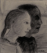 Paula Modersohn-Becker, Zwei Mädchenköpfe im Profil nach rechts (Due teste di ragazza di profilo a destra), 1903, Disegno, Sammlung Deutsche Bank