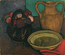 Paula Modersohn-Becker, Stillleben mit Tonkrug und Georginenstrauß (Natura morta con brocca e mazzo di dalie), 1907, Collezione privata