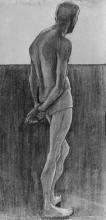 Paula Modersohn-Becker, Stehender männlicher Akt (Nudo maschile in piedi rivolto), Carboncino su matita, cm. 68,5 x 35,5, Paula Modersohn-Becker Stiftung