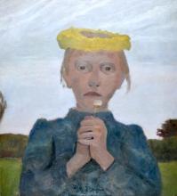 Modersohn-Becker, Ragazza con ghirlanda gialla e margherita.jpg