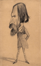 Claude Monet, da Nadar, Caricatura di Auguste Vacquerie, Caricature of Auguste Vacquerie, XIX secolo, 1859 circa, Disegno, Grafite con cancellatura su carta velina marrone chiaro, mm. 284 x 176, Senza firma, Chicago, Art Institute, inv. n. 1933.897, Mr. and Mrs. Carter H. Harrison Collection