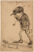 "Claude Monet, Caricatura di Henri Cassinelli (""Rufus Croutinelli""), Caricature of Henri Cassinelli (""Rufus Croutinelli""), XIX secolo, 1858 circa, Disegno, Grafite su carta velina marrone chiaro commercialmente preparata, mm. 130 x 85, Firma in alto: Claude Monet, Chicago, Art Institute, inv. n. 1933.893, Mr. and Mrs. Carter H. Harrison Collection"