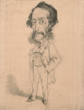 Claude Monet, da Etienne Carjat, Caricatura di Mario Uchard, Caricature of Mario Uchard, XIX secolo, 1858 circa, Grafite con tocchi di cancellature e sfumo su carta velina marrone chiaro, mm. 320 x 245, Senza firma, Chicago, Art Institute, inv. n. 1933.891, Mr. and Mrs. Carter H. Harrison Collection