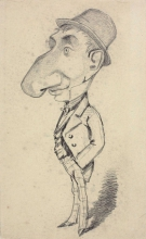 Claude Monet, Caricatura di un uomo con un grande naso, Caricature of a man with a large nose, XIX secolo, 1855-1856, Disegno, Grafite su carta velina grigio-verdastra, mm. 248 x 152, Chicago, Art Institute, inv. n. 1933.895, Mr. and Mrs. Carter H. Harrison Collection.