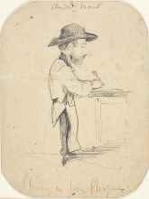 Claude Monet, Caricatura di un uomo con un piccolo cappello, Caricature of a man in the small hat, XIX secolo, 1855-1856, Disegno, Grafite su carta velina commercialmente preparata (scolorita in marrone chiaro), mm. 198 x 149, Firma in alto: Claude Monet, Chicago, Art Institute, inv. n. 1933.892, Mr. and Mrs. Carter H. Harrison Collection