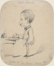 Claude Monet, Caricatura di un uomo in piedi vicino a una scrivania, Caricature of a man standing by desk (recto), XIX secolo, 1855-1856, Disegno, Grafite su carta velina commercialmente preparata avorio (scolorita in marrone chiaro), mm. 203 x 166, Chicago, Art Institute, inv. n. 1933.894, Mr. and Mrs. Carter H. Harrison Collection