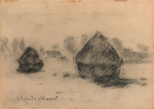 Claude Monet, Covoni di grano, Stacks of wheat, XIX secolo, 1891, Disegno, Gesso nero, con lucidatura e sfumo, carta vergata color crema (scolorita in marrone chiaro), posata su cartone, mm. 182 x 254, Firma, a gesso nero, in basso a sinistra: Claude Monet, Chicago, Art Institute, inv. n. 2013.986, Dono di Dorothy Braude Edinburg alla Harry B. and Bessie K. Braude Memorial Collection, Wildenstein D444bis