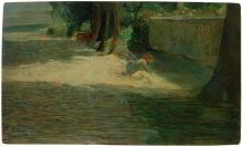 Giuseppe Pellizza da Volpedo, Paesaggio con figura o La lavandaia, 1892-1893, collezione privata