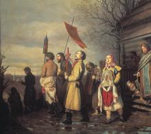 Vasily GrigorievichPerov: Processione di Pasqua in un villaggio, 1861, olio su tela, cm. 71,5 x 89, Mosca, Galleria Tretyakov