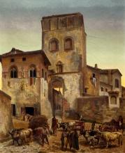 Stanislao Pointeau, Porta della città di Vicchio, XIX secolo, non datato, olio su tela(?)