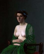 Vallotton, Donna con la sciarpa verde | Femme à l'écharpe verte | Woman with a green scarf, 1907