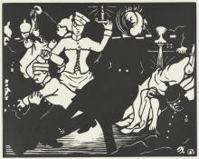 Vallotton, L'orgia | L'orgie | The orgy, Xilografia stampata in nero su carta velina, 24,9 x 33,6 cm, Van Gogh Museum, Amsterdam