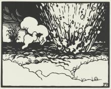 Vallotton, La trincea | La tranchée | The trench, Xilografia stampata in nero su carta velina, 25 x 33,3 cm, Van Gogh Museum, Amsterdam
