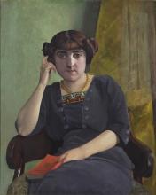 Vallotton, Ritratto di giovane donna in abito di velluto | Portrait de jeune femme en robe de velour, XX secolo, Dipinto, Kunstmuseum St. Gallen, Schweiz