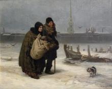 Viktor Mikhaylovich Vasnetsov (1848-1926): Da stanza in affitto a stanza in affitto, 1876, olio su tela, cm. 53,5 x 67,2, Mosca, Galleria Tretyakov
