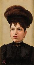 Giuseppe Abbati (attribuito a), Ritratto di signora con cappello con piuma